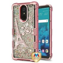Rose Gold Eiffel Tower/Sparkles TUFF Hybrid Cover for LG Stylo 4 Plus/St... - $11.39