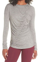 Zella Ruched Top Small 4 6 Heather Gray Long Sleeve Crew Neck Stretchy A... - $65.00