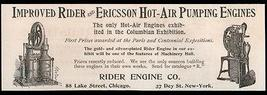 Rider Ericsson Hot-Air Pumping Engine Steampunk 1893 Antique Small AD - $14.99