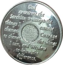 3 Month Purple Silver Plated AA Medallion 90 Day Chip Alcoholics Anonymous - $20.99