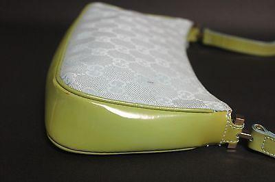 3309bec1d Auth Gucci gg pattern canvas Leather aqua lime ladies shoulder bag purse  Italy