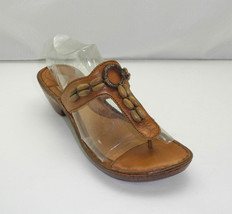 Born Tan Leather Thong Sandals - Wooden Beads - Original Box - Women's 7M  - $23.70