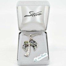 Storrs Wild Pearle Abalone Shell Palm Tree Pendant w/ Silver Tone Necklace