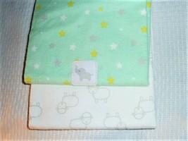 Child of Mine Lamb Elephant Baby Blanket Flannel Star Green Yellow Gray White - $39.58