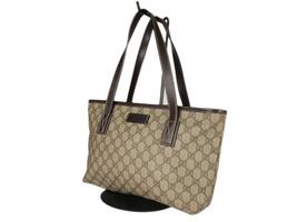 GUCCI GG Web PVC Canvas Leather Browns Shoulder Bag GS2537 - $398.00