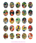 horror monsters movie comics collage sheet 30mmx40mm oval clipart download - $3.99