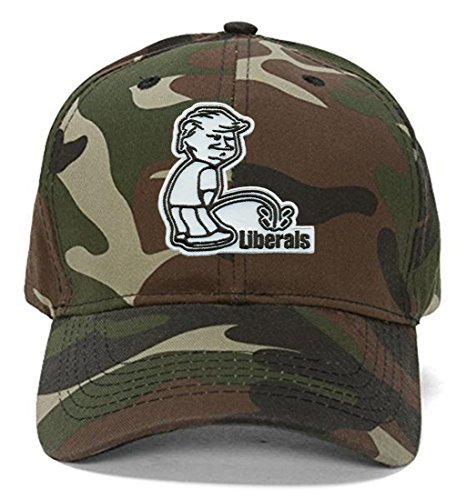 Donald Trump Peeing on Liberals Hat - Funny Cap Adjustable (Camo)
