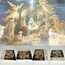 Bits and Pieces In the Manger 500 Puzzle complete Christmas Nativity 16 x 20 - $27.95