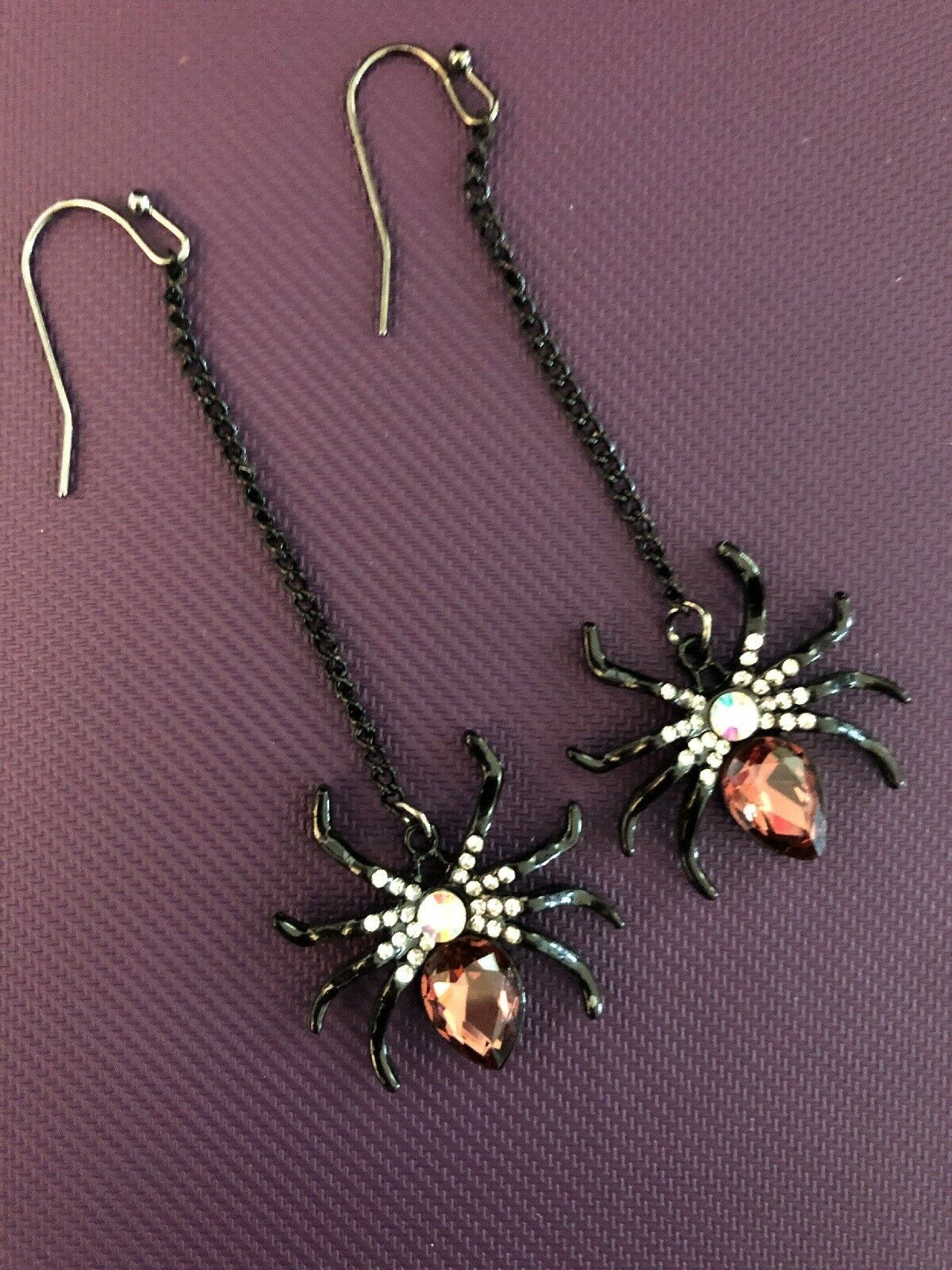 Primary image for BLACK WIDOW SPIDER RED RHINESTONE EARRINGS DANGLE HALLOWEEN ENAMEL NEW
