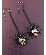 BLACK WIDOW SPIDER RED RHINESTONE EARRINGS DANGLE HALLOWEEN ENAMEL NEW - $9.89