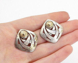 STAMAS 925 Silver - Vintage Two Tone Detail Cutout Design Drop Earrings ... - $34.14