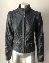 Motorcycle Vegan Faux Leather Short Black Chic Fitted Zip Up Jacket Coat... - $14.00