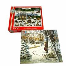 Lot 2 Milton Bradley Charles Wysocki 1000 Pieces Christmas Puzzles - $24.74
