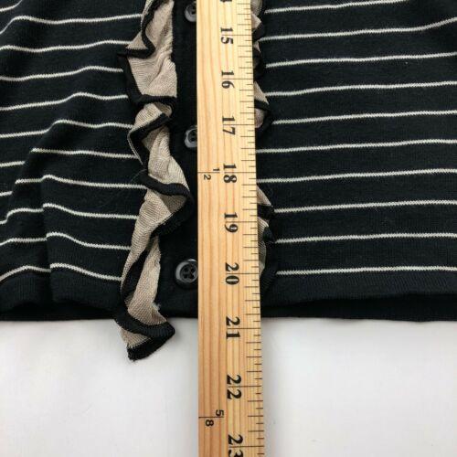 CAbi Cardigan Sweater Womens Small Black Stripe 3/4 Sleeve Ruffle Button B13-03P image 4