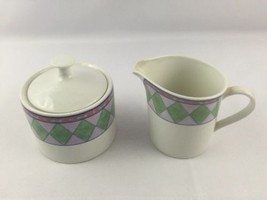 Distinction Dinnerware By Oneida Harlequin Sugar Bowl & Creamer Pour Cup 1998 - $29.39