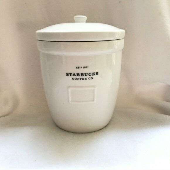 Primary image for Starbuck Coffee Canister Cookie Jar Abbey Barista White ceramic 2002