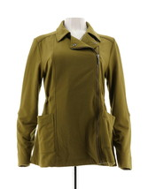 H Halston French Terry Anorak Jacket Olive Green M NEW A293977 - $41.56