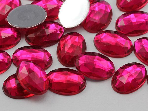 14x10mm Pink Fuchsia .MAR09 Flat Back Oval Acrylic Gemstones 45 PCS