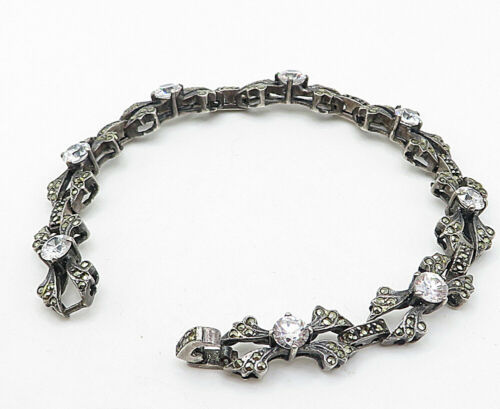 925 Silver - Vintage Round Cubic Zirconia & Marcasite Chain Bracelet  - B4618