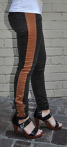 Current Elliott Brown Stripe Rider Legging Honey Jeans 24 Womens - $24.21