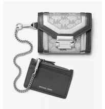NWT MICHAEL KORS Whitney Small Metallic Logo Jacquard Chain Wallet in Si... - $59.99