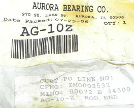 NEW AURORA BEARING CO. AG-10Z ROD END AG10Z