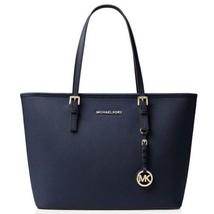Michael Kors Jet Set Travel Top Zip Saffiano Leather Tote Bag, Dark Blue - $195.00