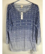 NWT Chicos XL Sz 3 Women Blue & White Ombre Side Ruched Knit Pullover Sw... - $22.24