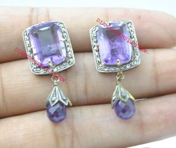 925 Sterling Silver Antique Rose Cut Diamond & Amethyst Victorian Style ... - $132.76