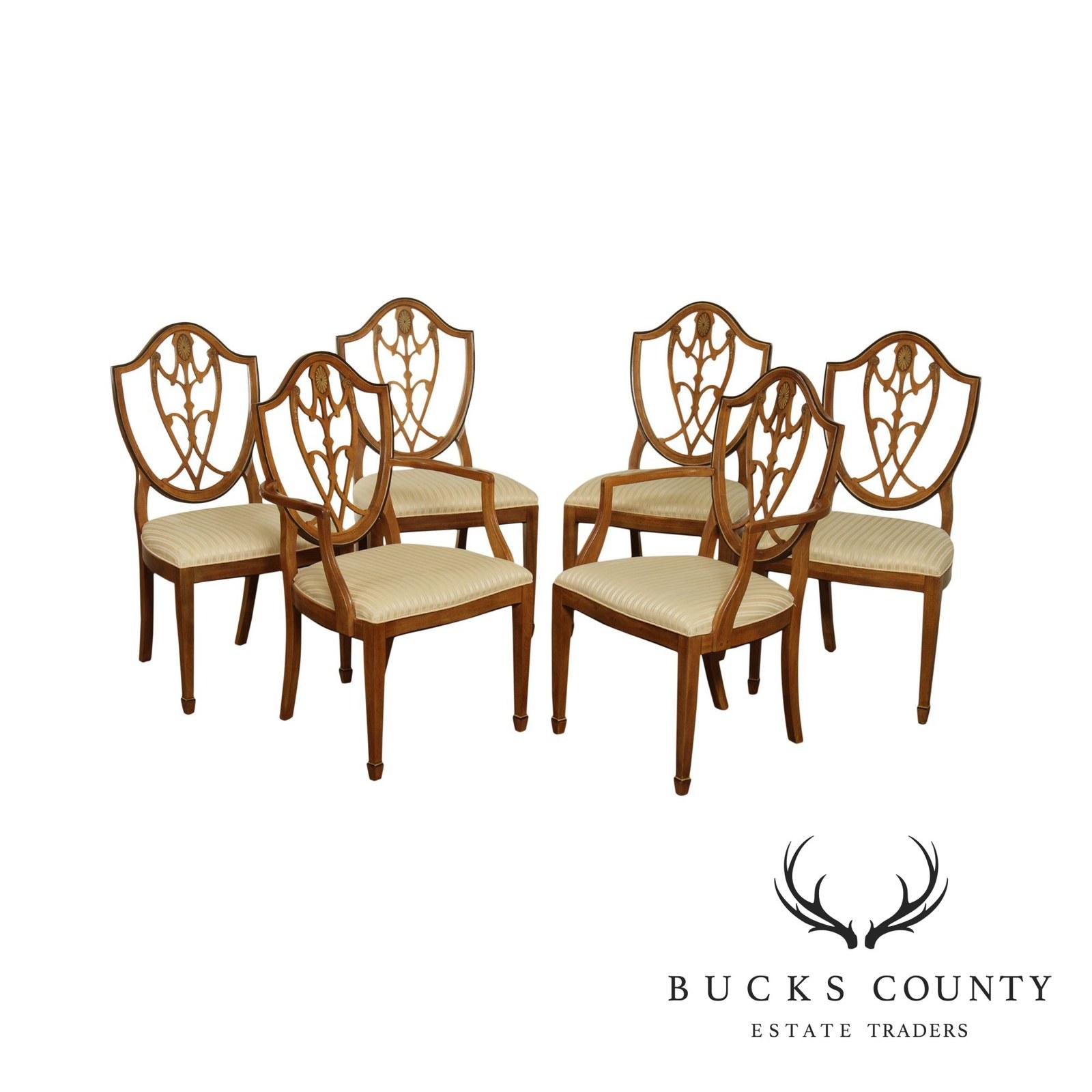 Drexel Devoncourt Hepplewhite Style Set 6 Shield Back Dining Chairs - $1,495.00
