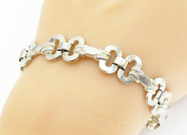 GERMANY 925 Silver - Vintage Etched Detail Open Link Chain Bracelet - B5931 - $56.94