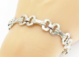 GERMANY 925 Silver - Vintage Etched Detail Open Link Chain Bracelet - B5931 - $56.94