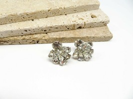 Vintage Signed Continental White Rhinestone Cluster Screw Back Earrings T12 - $21.99