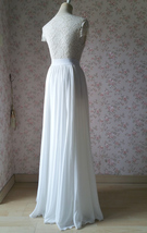 WHITE Chiffon Maxi Skirt Full Long Chiffon Skirt White Wedding Bridesmaid Skirt image 6