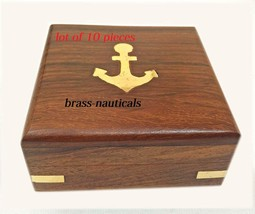 """lot of 10 wooden box for 3"""" sundial with brass anchor top solid wooden box - $118.80"""