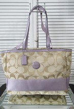 NWT COACH SIGNATURE MULIT-FUNCTION DIAPER/TOTE /MESSENGER BAG, KHAKI/SIL... - $275.22