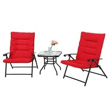PHI VILLA 3 PC Padded Folding Bistro Set Patio Adjustable Reclining Indo... - $180.40