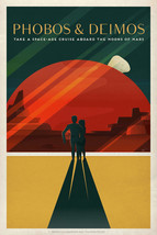 Travel Poster Phobos & Deimos Take a Space-Age Crusie Aboard the Moon of... - $12.87+