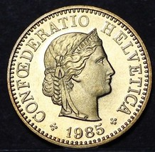 Rare Proof Switzerland 1985 20 Rappen~Only 12,000 Minted~Free Shipping - $8.11