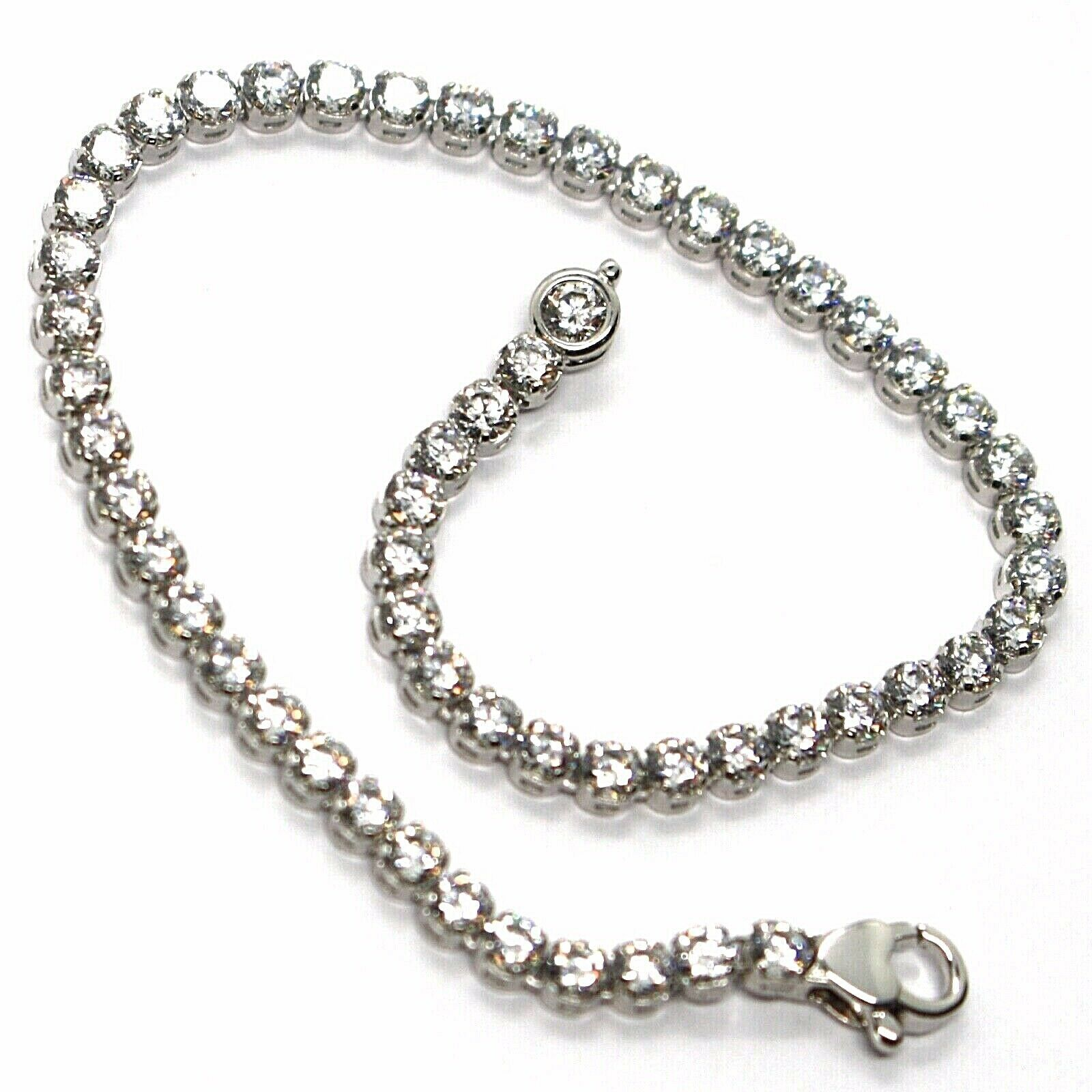 18K WHITE GOLD TENNIS BRACELET CUBIC ZIRCONIA WIDTH 3.2 MM LOBSTER CLASP CLOSURE
