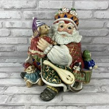 Fitz & Floyd Christmas Court Santa Claus Cookie Jar Canister Holiday Toys  - $173.70