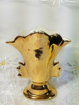 "VINTAGE FAN VASE 2 HANDLED 22 KT GOLD CHINA #69 3 3/4"" X 4 1/4"" X 2 1/4"""
