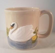 Otagiri 3D Embossed Handpainted Ceramic Coffee Mug Swan On Pond Scene 1980 - $18.80