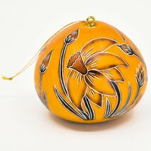Handcrafted Carved Gourd Art Spring Daffodil Flower Floral Ornament Made in Peru image 3