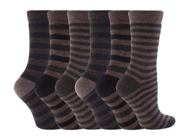 6 Paare Damen Jennifer Anderton Thermosocken Größe 4-7 Uk - Tonal Streif... - $18.26