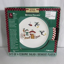 "Debbie Mumm Sakura Winter Follies 8"" Dessert Plates Penguins Snowman - $39.55"