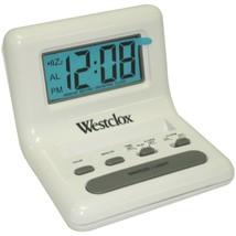 Westclox 47539 .8 White LCD Alarm Clock with Light on Demand - $25.70