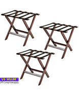 3 PACK Luggage Suitcase Rack Wood Folding Hotel Shelf Stand Tray Cart Brown - $133.55