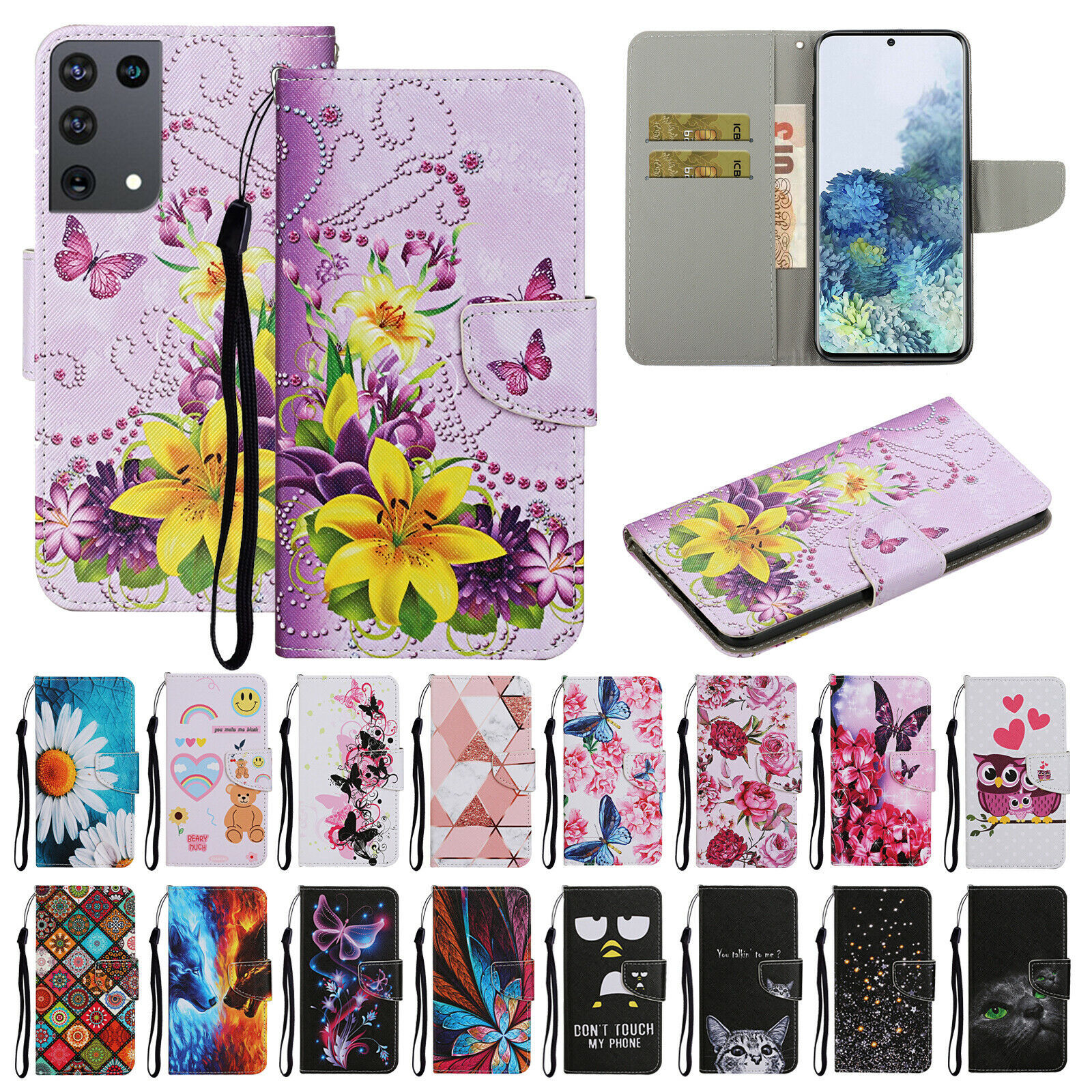 For Samsung Galaxy S21 Plus/Ultra/A02s Leather wallet FLIP MAGNETIC BACK cover - $46.24