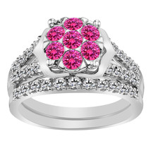 1.60 Ct Pink Sapphire & Clear Diamond 9k White Gold FN 925 Engagement Ring Set - $109.00